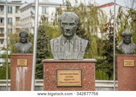 Istanbul, Esenyurt/ Turkey-04.06.2019: Monument To Mustafa Kemal Ataturk. First President Of The Rep