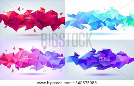 Vector Set Of Abstract Geometric Facet 3d Shapes. Use For Banners, Web, Brochure, Ad, Poster, Etc. L