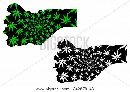 Saada Governorate (governorates Of Yemen, Republic Of Yemen) Map Is Designed Cannabis Leaf Green And