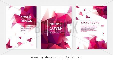 Vector Abstract Business Brochure Cover Template, Facet Modern Geometric Background With Red Triangl