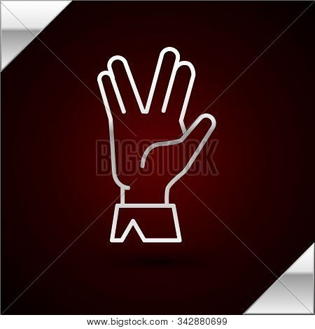 Silver Line Vulcan Salute Icon Isolated On Dark Red Background. Hand With Vulcan Greet. Spock Symbol