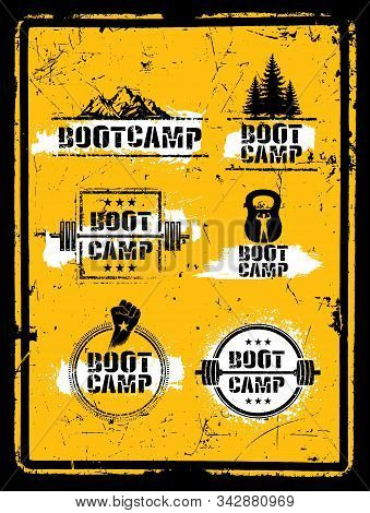 Bootcamp Fitness Workout Sport Creative Strong Sign Set. Vector Rough Typography Grunge Design Eleme