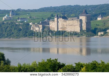 Khotyn Fortress From Opposite Bank Of Dniester River