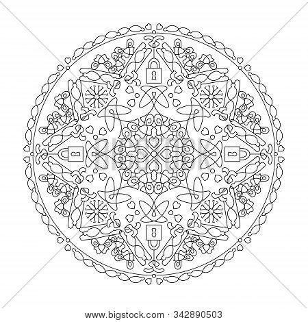 Mandala. Hearts Mandala With Padlocks. Coloring Page, Illustration Vector. Art Therapy. Decorative E