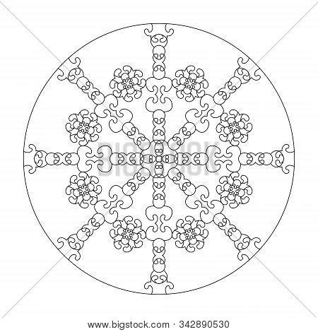Mandala . Abstract Mandala. Coloring Page, Illustration Vector. Art Therapy. Decorative Element.