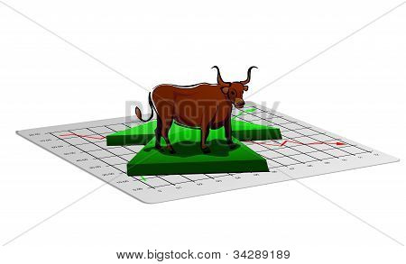 Business chart illustration with up arrow and bull