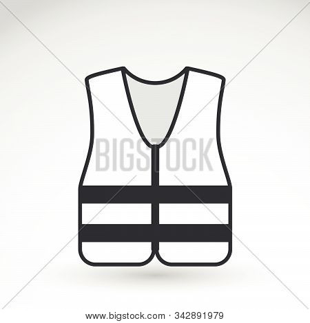 White Signal Vest - High Visibility Jacket Illustration. Safety Equipment. Protective Workwear. Prot
