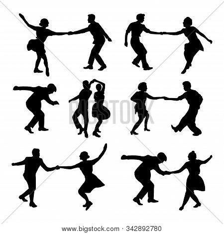 Set Silhouette Dancing People In A Retro Swing Isolated. People In 40s Or 50s Style Dancing Rockabil