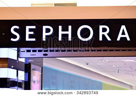 Warsaw,poland. 16 March 2018. Sign Sephora. Company Signboard Sephora.
