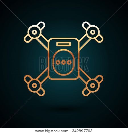 Gold Line Drone Flying With Action Video Camera Icon Isolated On Dark Blue Background. Quadrocopter