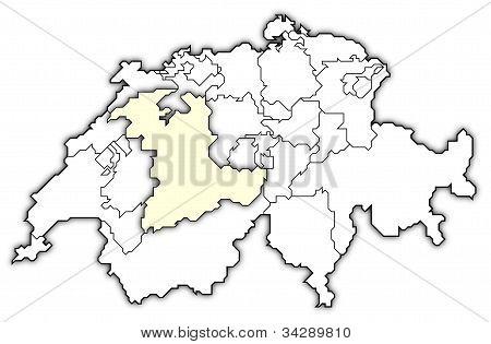Map Of Swizerland, Bern Highlighted