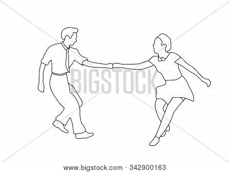 Set Swing Jazz Retro Dance. Pait People Dancing In Vintage Style Isolated On White Background. Outli