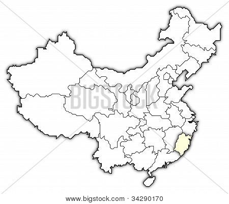 Map Of China, Fujian Highlighted