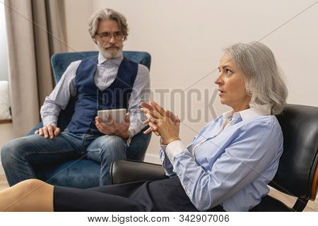 Dejected Business Lady Talking To His Psychotherapist