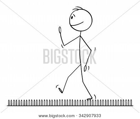 Cartoon Stick Figure Drawing Conceptual Illustration Of Man Or Businessman Walking On Nails Or Fakir