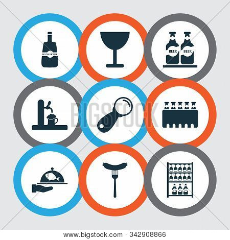 Beverages Icons Set With Whisky, Ale, Sausage And Other Beer Elements. Isolated Vector Illustration