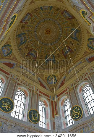 Istanbul, Turkey - September 10th 2019. The Dome In The Interior Of Ortakoy Mosque, Officially Known