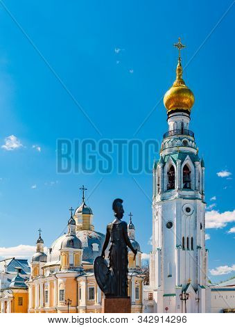 Old Vologda Kremlin And Church In Northern Russia, Europe. Ancient Fortress With While Walls, Towers