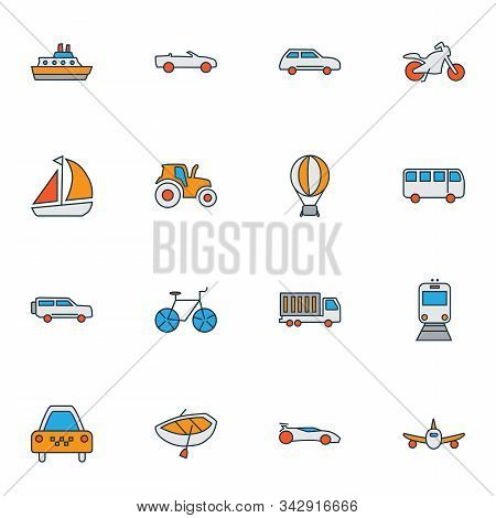 Transit Icons Colored Line Set With City Car, Motorcycle, Boat And Other Streetcar Elements. Isolate