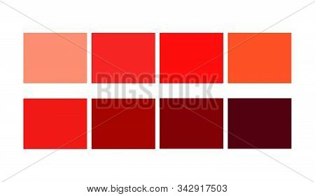 Red Tone Color Shade And Ligths Palette For Cartoon Design. Template To Pick Color Swatches. .