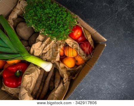 Full Zero Waste Paper Bags Of Different Health Food, Vegetables And Fruits, Health Food, Rich In Vit