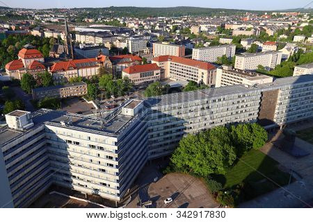 Chemnitz City In Germany (state Of Saxony). Aerial View.