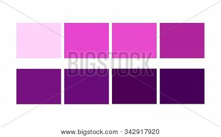 Purple, Violet Table Colour Shades And Ligths For Cartoon Design. Template To Pick Color Swatches.