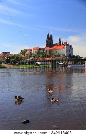 Meissen Old Town In Germany (free State Of Saxony). Albrechtsburg Castle Seen Over River Elbe.