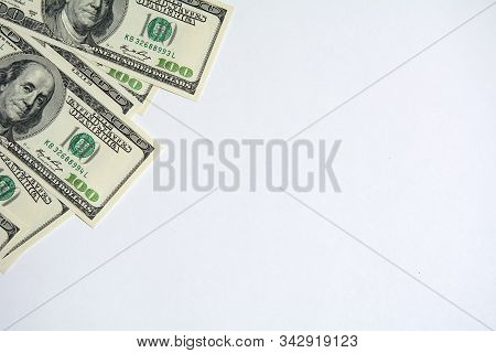 Us Dollar Money Cash Currency Background. American Dollars 100 Banknote Border In The Corner . One H