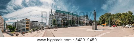 Oslo, Norway - June 24, 2019: Statue Of King Haakon Vii Of Norway In Oslo, Norway. Panorama, Panoram