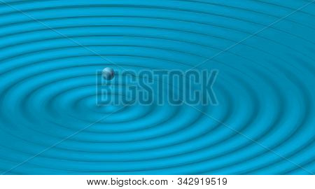 Rippled Blue Background For Banner, Poster, Flyer, Card, Cover, Brochure. Wavy Vector Illustration,