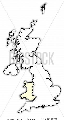 Map Of United Kingdom, Wales Highlighted