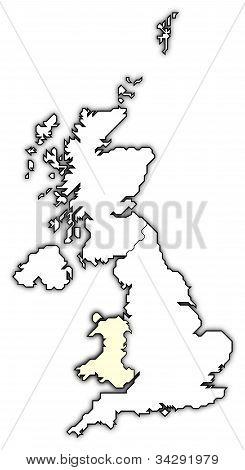 Karta över Storbritannien, Wales belyst