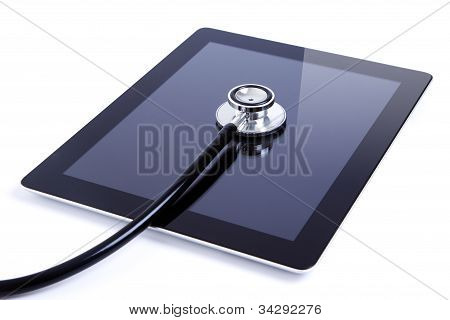 Digital tablet with high quality stethoscope on white