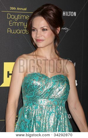LOS ANGELES - JUN 23:  Rebecca Herbst arrives at the 2012 Daytime Emmy Awards at Beverly Hilton Hotel on June 23, 2012 in Beverly Hills, CA