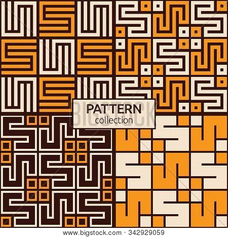 Set Of Four Korean Or Chinese Seamless Patterns. Repeatimg Geometric Symmetric Ornaments. Modern Sty