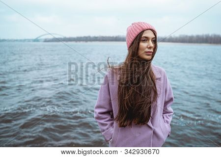 Kind Female Person Enjoying Sounds Of River