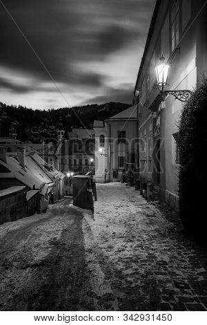 Old City In Banska Stiavnica At Night. Street In The Historical City Centre Of Banska Stiavnica In C