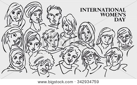 Banner For International Women's Day - Diverse Female Faces From Around The World, A Diverse Group O