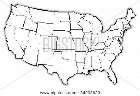 Mapa Spojených států, Massachusetts zvýrazněny