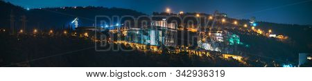 Tbilisi, Georgia. Night View Of Complex Of Buildings, Residence In Sololaki Ridge Owned By The Georg