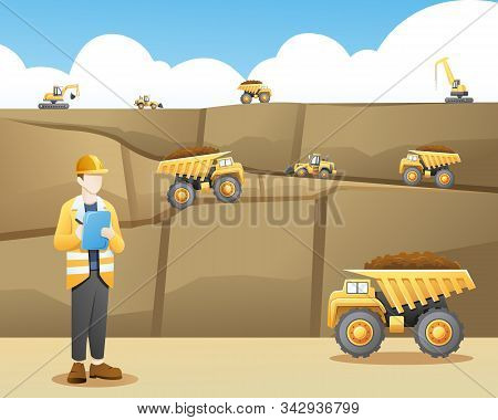 Vector Illustration Mining Worker Taking Note With A Mining Background. Mining Activities With Heavy