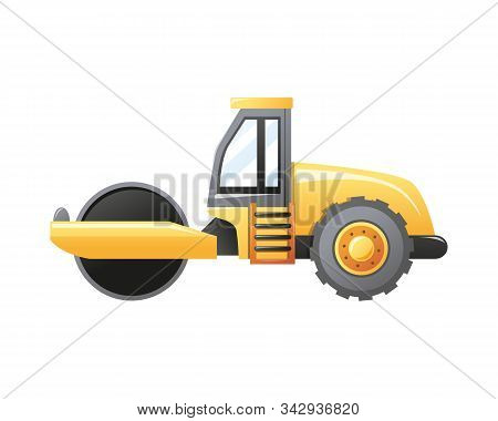 Vector Illustration Steamroller Construction Vehicle Isolated On A White Background. Vector Cartoon