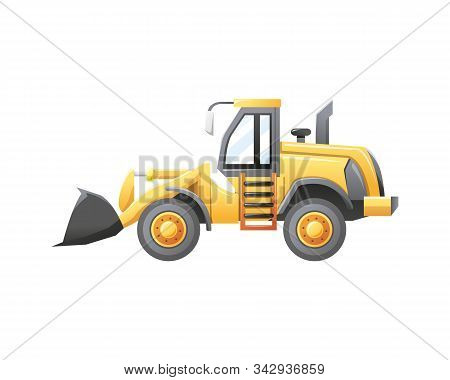 Vector Illustration Bulldozer Construction Vehicle Isolated On A White Background. Vector Cartoon Of