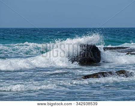 Game Of Sea Waves On The Coast Of The Caspian Sea.