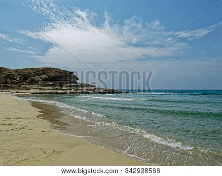 A Bay With A Sandy Beach On The Caspian Sea.