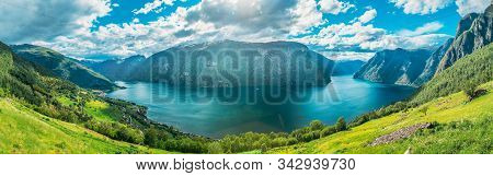 Sogn And Fjordane Fjord, Norway. Panorama Panoramic View Of Amazing Fjord Sogn Og Fjordane. Summer S