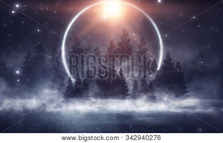 Dark Winter Forest Background At Night. Snow, Fog, Moonlight. Dark Neon Night Background In The Fore