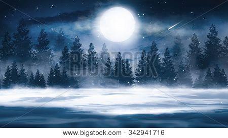 Dark Winter Forest Background At Night. Snow, Fog, Moonlight. Dark Neon Night Background In The Fore