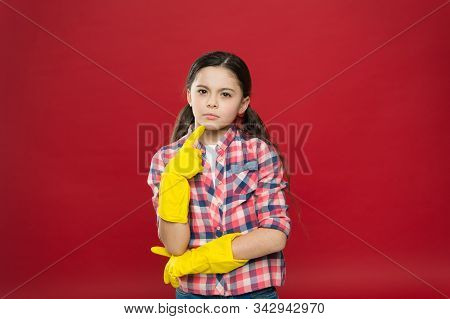 So Fresh And So Clean. Thoughtful Child Wear Rubber Gloves Red Background. Household Work. Housekeep